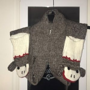 Sock Monkey Scarf with attached mittens